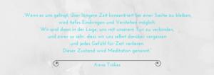 """Zitat über Meditation aus """"Das grosse Yoga-Buch"""" von Anna Trökes"""